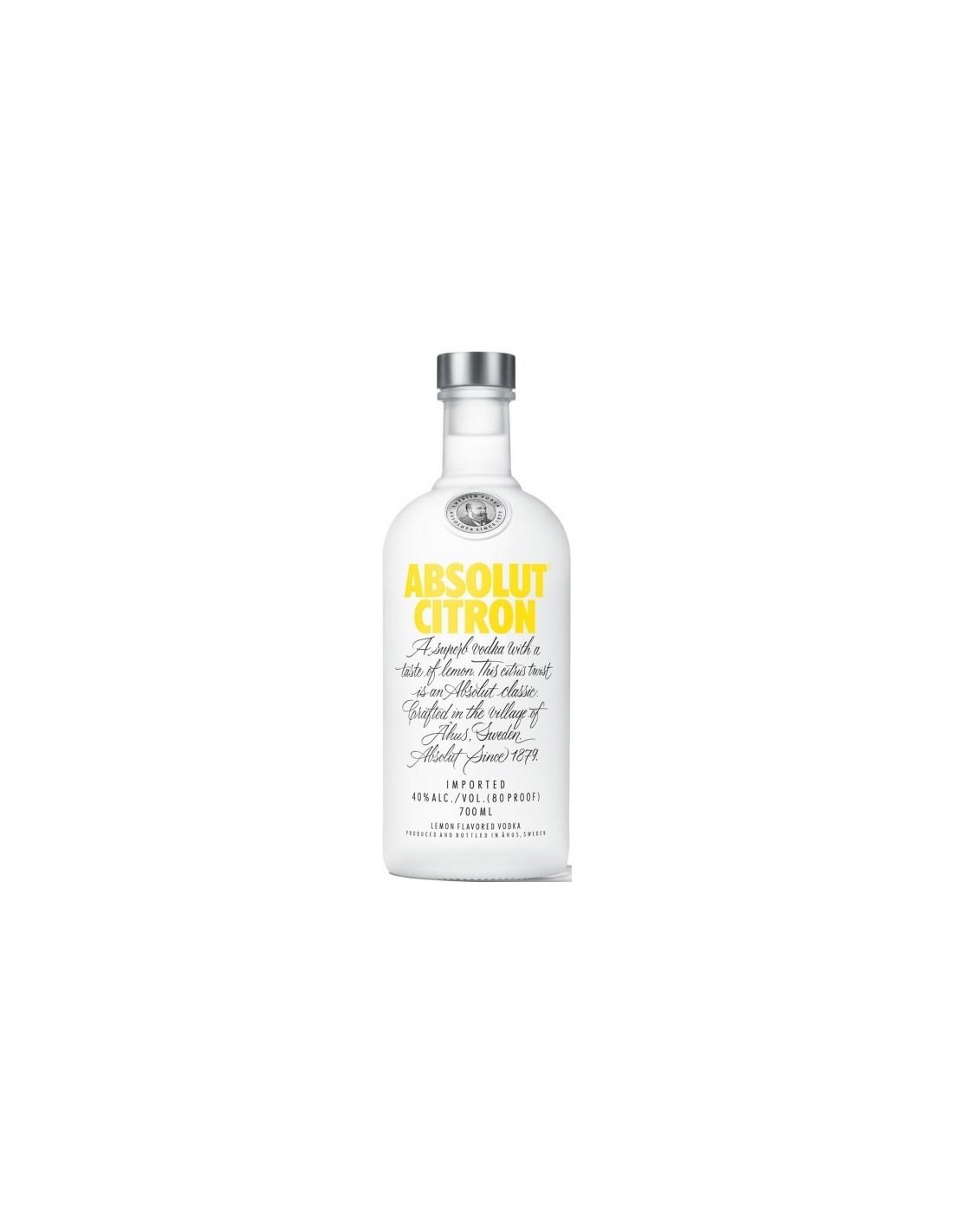 Vodca Absolut Citron 0.7L, 40% alc., Suedia
