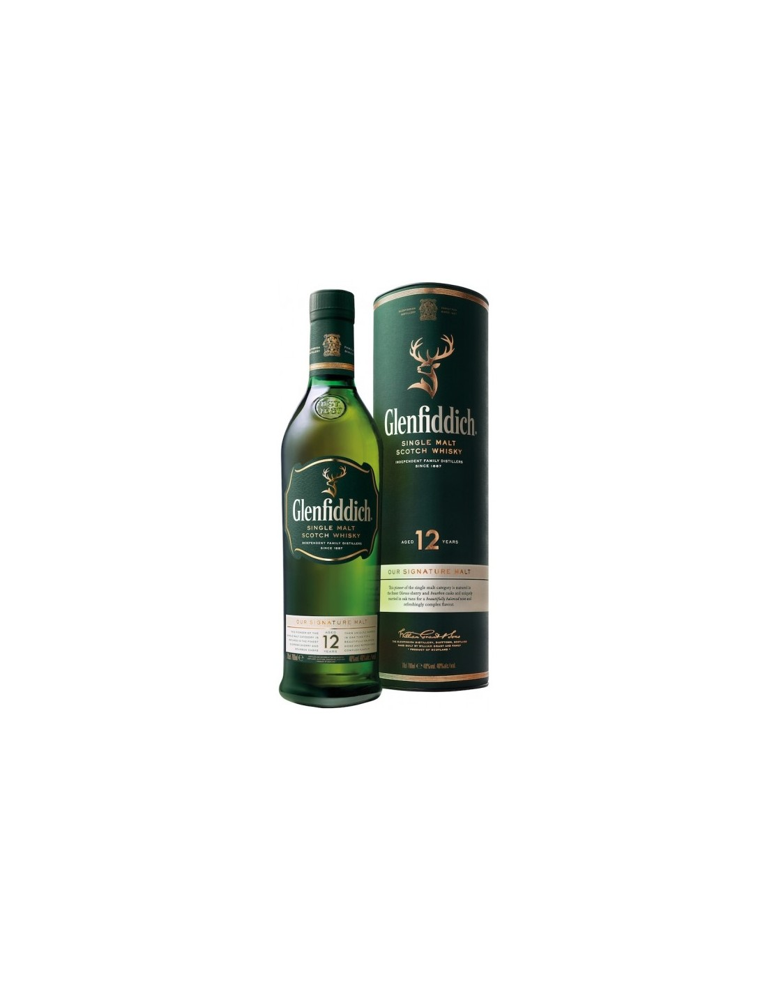 Whisky Single Malt Glenfiddich, 12 ani, 40% alc., 0.7L, Scotia