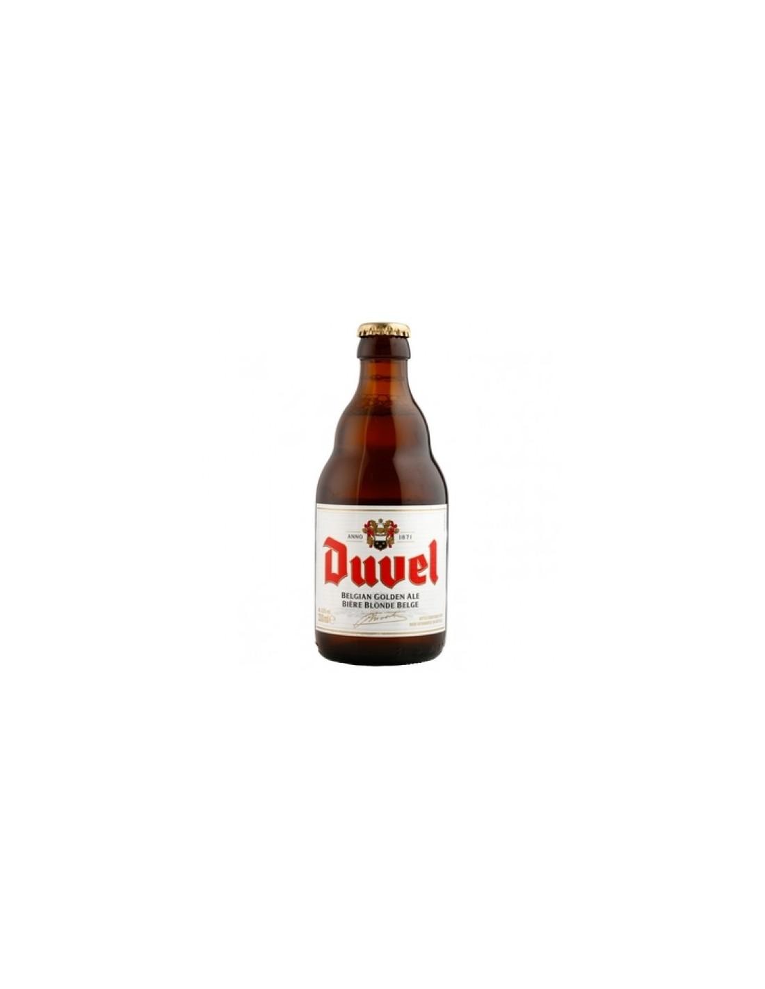 Bere blonda, filtrata DuveL, 8.5% alc., 0.33L, Belgia