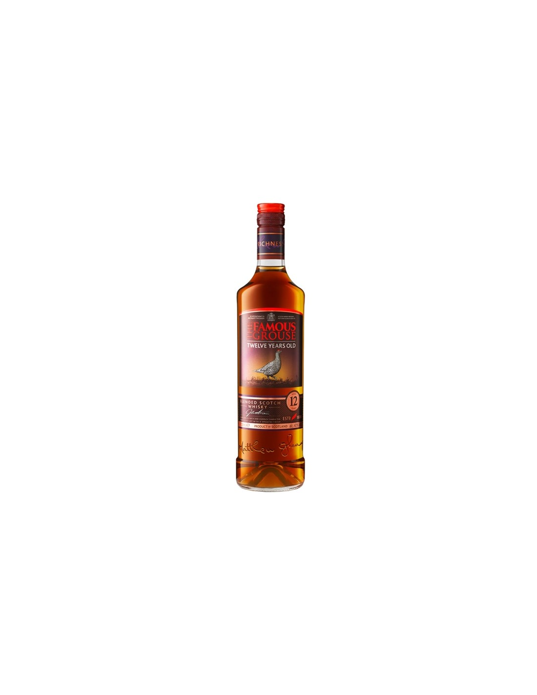 Blended Whisky Famous Grouse, 12 ani, 40% alc., 0.7L, Scotia