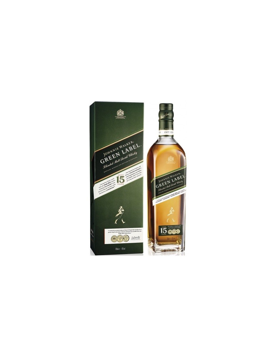 Whisky Johnnie Walker Green Label, 15 ani, 43% alc., 0.7L, Scotia